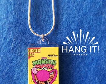 Packet of Roast Beef Monster Munch Crisps Necklace. Kitsch Retro Quirky