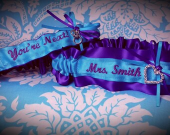 Blue and Purple Heart garter set, name, You're Next garter, Name garter, Mrs Garter, Turquoise and purple garter set, surname garter, heart