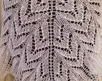 Hand Knit lace shawl in White Wool blend with mini sequins Party Wedding
