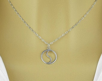 Yin Yang pendant necklace , sterling silver 925