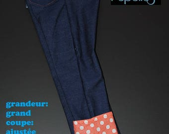 Scalable jeans size large, slim fit, white polka dots on orange background