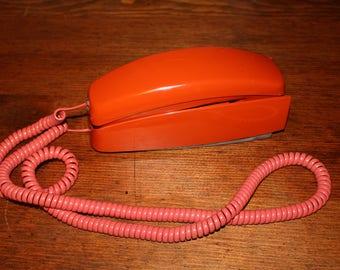 Vintage Bright Rust Orange Color Trimline Rotary Telephone