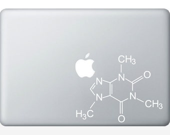 Caffeine Compound Molecule laptop DECALS-  macbook iPad computer coffee- chemical structure- geek gift