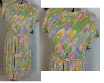 SALE! Vintage 1960s VOLUP pastel rainbow psychedelic swirl day dress 1X 233