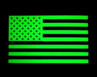 American Flag Glow in the Dark Decal / Sticker - Macbooks, iPhones, Andriod, Smartphones, Halloween, Laptops, Car Windows