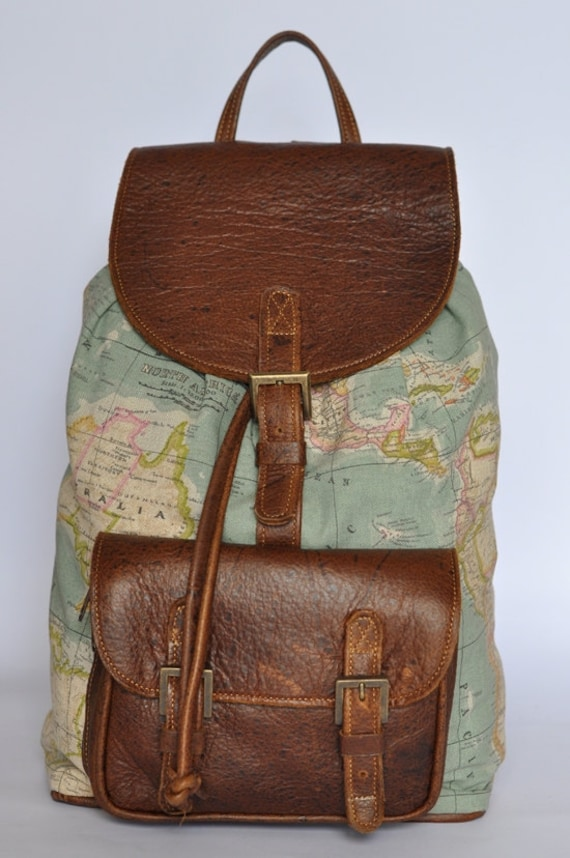 World map backpack atlas print large genuine leather 1200000 like this item gumiabroncs
