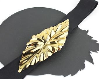 Gold Metal Leaf Buckle on Black Elastic Belt