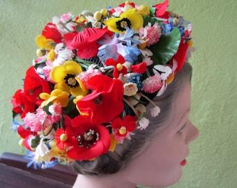 Marshal Field Vintage Spring Bouquet Garden Hat Silk Floral Red White Blue Gold Church Derby