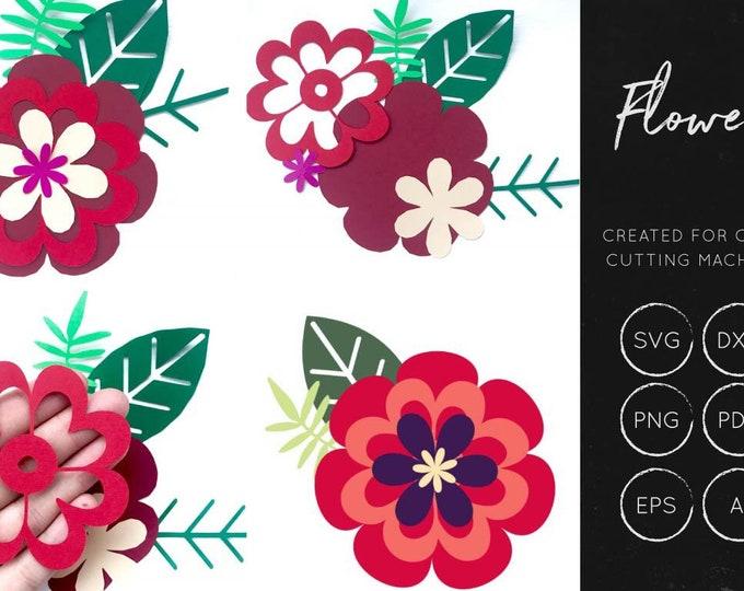 Layered Flower SVG, Flower for cricut, silhouette cameo, flower svg, layered flower cut file, flower cut file, flower dxf, flower shapes svg