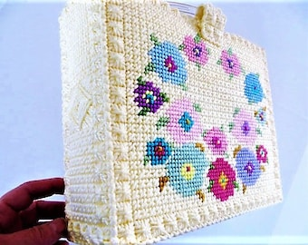Needlepoint Tote Bag, Handmade Purse, Yellow with Flowers, Needlework Bag, Plastic Handles, Perfect