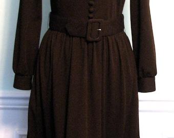 1970s  Dress Victor Costa Designer Dress Fur Lillie Rubin Brown