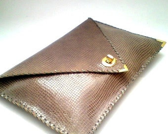 Brown patent leather clutch / Handmade leather bag / Feels like snake