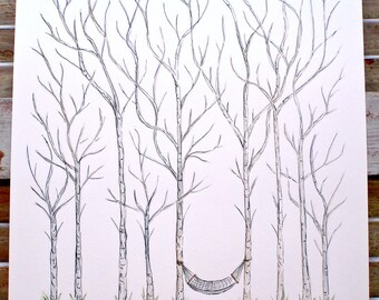 Small Aspen Fingerprint Trees, Wedding Guest book, Hand Drawn in ink, includes 2 ink pads and pen