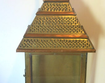 Vintage Punched Tin and Glass Nicho Candle Holder Gold/Bronze Pyramid Shadow Box
