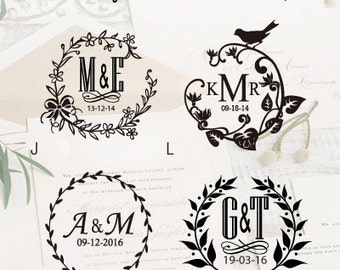 Custom Wedding Emboss Stamp / Personalized Monogram Emboss Wedding Seal / Envelope Emboss Metal Stamp