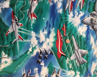 "Vintage, Cotton Fabric, Remnant, Fighter Jets,  22"" Wide  x 34"" Long, Planes, Airplanes"
