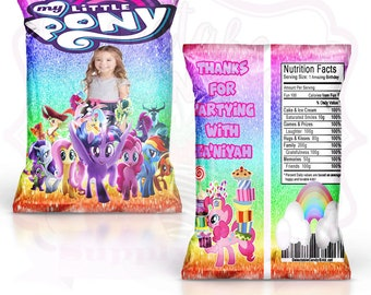 My Lil Pony Favor Bag-Custom Chip Bags-My Lil Pony Birthday Party-My Lil Pony-Digital-Printable-Printed-Chip Bags