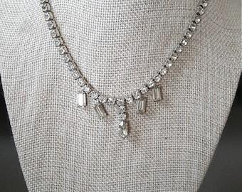 "Vintage Joseph Wiesner Rhinestone Necklace, 14"" Bridal, Prom Necklace"