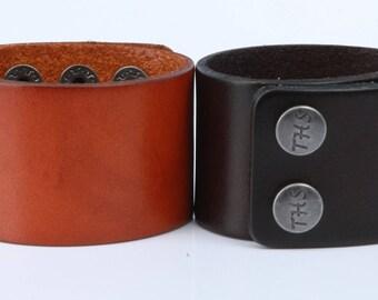 """Wide Leather Cuff Bracelet, Plain 1.5"""" Wide, Snap Closure B050-PL"""
