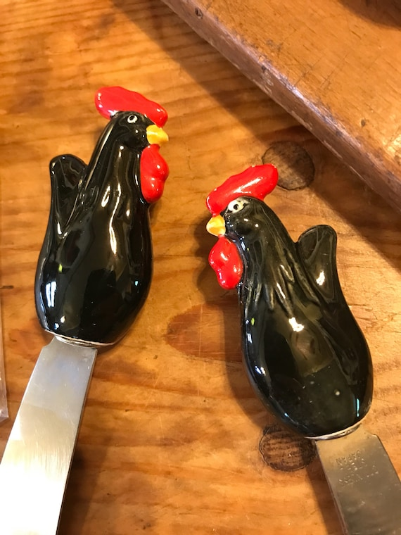 Vintage Chicken Rooster Pate Knife Set of 4 in Box Made in Japan