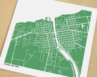 Oswego Map, Hand-Drawn Map Print of Oswego New York