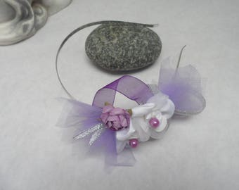 Headband for woman or child - mauve purple and white