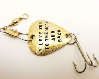Custom Fishing Lure Brass metal Handstamped Personalized Message Names Date Initials Fisherman Anniversary Men Boyfriend Father's Day Gift
