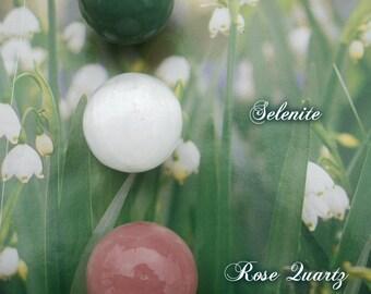 Aventurine Sphere ~ Selenite Sphere ~ Rose Quartz Sphere 40mm ~ Sea Salt + Handmade Gift Box