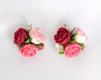 Earrings with peony, peony earrings, floral earrings, polymer clay earrings, earrings with flowers, floral jewelry, cold porcelain