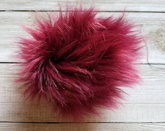 Ready to Ship: Wine Faux Fur Pom Pom