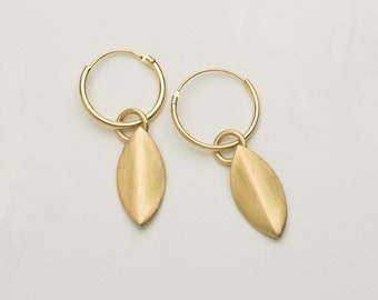 Gold dangle earrings, solid gold earrings, dangle earrings
