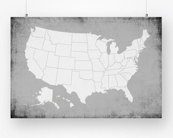 usa push pin map poster download gray large size united states map rustic wall art decor printable digital print pdf instant download jpg