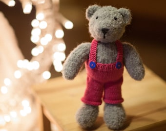 toy bear stuffed - plush teddy bear - knitted teddy bear - toy teddy bear - teddy bear in red panties - bear toy in panties - dressed toy