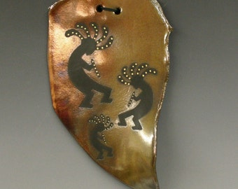 Raku Wall Hanging with Kokopelli, Copper Metallic and Iridescent Colors