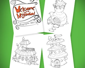 Welcome To The Neighborhood, Fairy house coloring book,  Colorbook4nerdlings, by Sean McMenemy