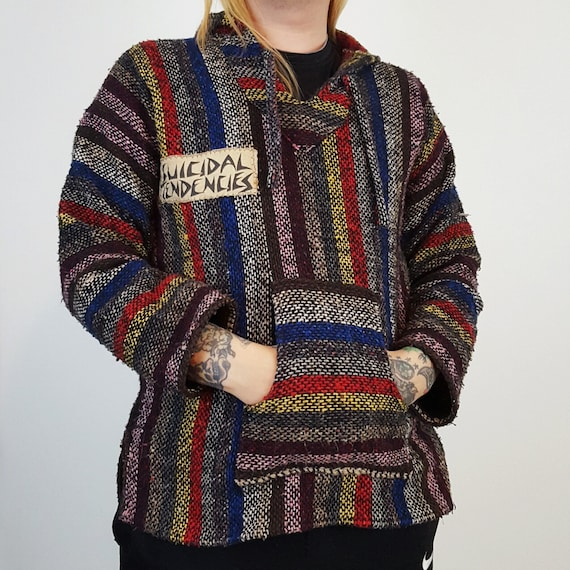 90's Striped Baja Hoodie with Suicidal Tendencies Patches - Medium Grunge Men's Fashion - Multi Vertical Stripe Hoodie Pullover Outerwear