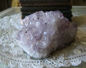 AMETHYST CLUSTER Light Amethyst Cluster raw Quartz Crystal - Amethyst Points - Druzy Geode - Grids - Meditation - Gem of Fire