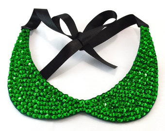 Green Sequin Collar Necklace - One Short Day in the Emerald City