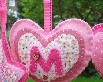 heart  Hanging Decoration handmade pink felt and fabric UK seller