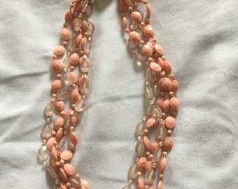 1950's Beaded Necklace - Coral in color