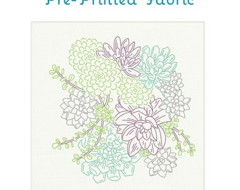 SUCCULENT GARDEN fabric for embroidery by StudioMME