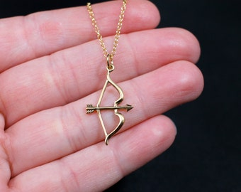 Gold Bow and Arrow Necklace   Bow and Arrow Necklace   Archery Jewelry   Archery Necklace   Saggitarius Necklace   Saggitarius Jewelry