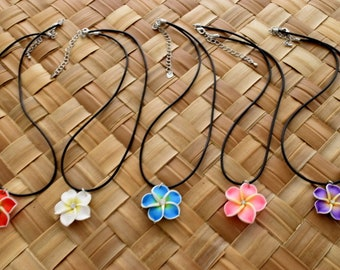 5 - Plumeria Hair Flower Necklace, Hawaiian Flower Necklace; Red, White, Blue, Pink and Purple. Handmade.