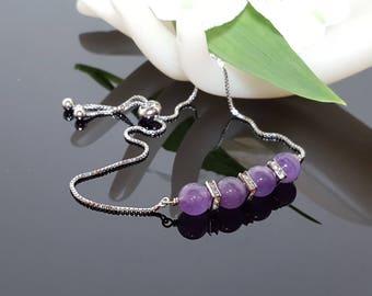 February Birthstone Amethyst Bracelet Ultra Violet Bracelet Purple Gemstone Slider Bracelet Beaded Bracelet Gift for Wife Healing Energy