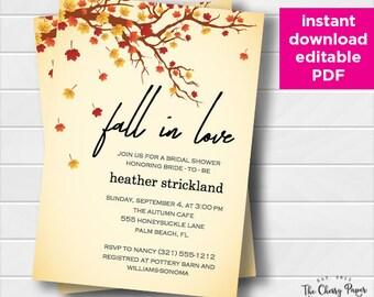 INSTANT DOWNLOAD Bridal Shower Invitation, Fall,Autumn, Fall in love, Bridal Invite, Printable, DIY, Orange,Yellow, Editable, FAL02