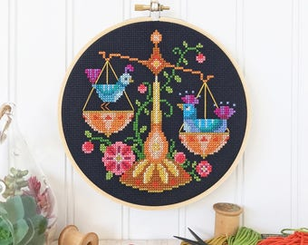 Libra - zodiac sign - Satsuma Street modern cross stitch pattern PDF - Instant download