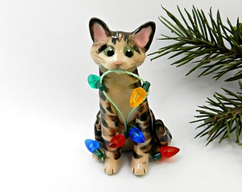 Brown Tabby Cat Porcelain Christmas Ornament Figurine Lights Clay