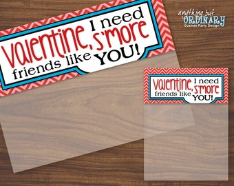 Valentine Smores Bag Topper DIY Labels, Editable Smore Treat Bags, INSTANT DOWNLOAD, printable digital file