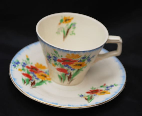 H & K Tunstall Tea cup and Saucer - Made in England - Flower - blue red orange green - shabby chic