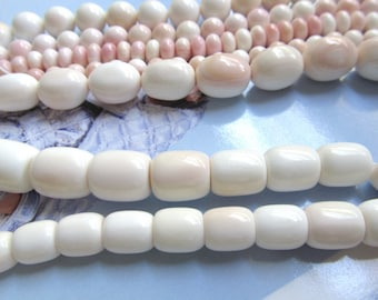 White MOP Barrel Bead, Pink Conch Shell, Blush Graduated Shell, Queen Conch Shell, Mother of Pearl, 10 Pc